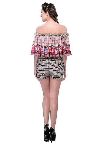 Brown Embroidered Crop Top by Bhanuni by Jyoti