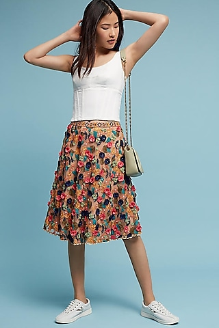 Peach Appliques Embroidered Skirt by Bhanuni by Jyoti