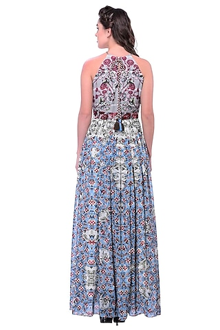 Grey Hand Embroidered Halter Maxi Dress by Bhanuni by Jyoti
