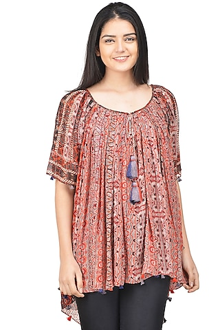 Red Floral Printed Blouse by Bhanuni by Jyoti