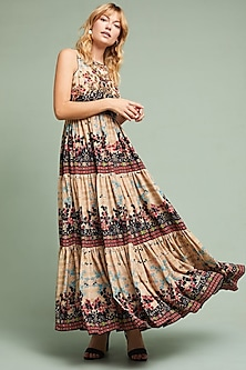 Beige Floral Printed Maxi Dress by Bhanuni by Jyoti