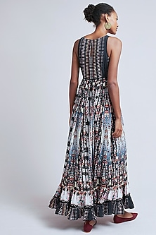 Grey Sequins Embroidered & Printed Maxi Dress by Bhanuni by Jyoti