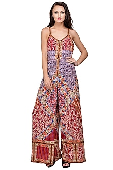 Purple Embroidered & Printed Jumpsuit by Bhanuni by Jyoti