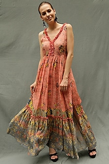 Peach Embroidered Maxi Dress by Bhanuni by Jyoti
