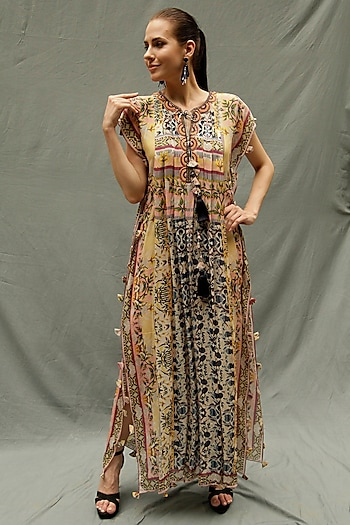 Blue & Yellow Embroidered Full Length Kaftan by Bhanuni by Jyoti