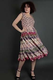 Multi Colored Embroidered Checkered Dress by Bhanuni by Jyoti