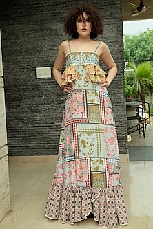 Multi Colored Embroidered Maxi Dress by Bhanuni by Jyoti