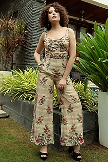 Multi Colored Floral Embroidered Jumpsuit by Bhanuni by Jyoti