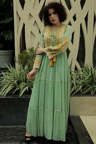 Mint Green Embroidered Maxi Dress by Bhanuni by Jyoti