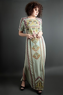 Mint Green Embroidered Floral Dress by Bhanuni by Jyoti