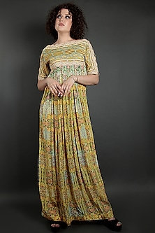 Yellow & Mint Green Embroidered Floral Dress by Bhanuni by Jyoti