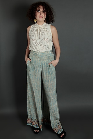 Blue Embroidered Flared Pants by Bhanuni by Jyoti