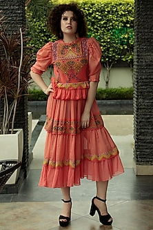 Tomato Red Embroidered Midi Dress by Bhanuni by Jyoti