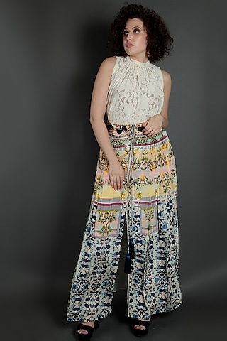 Blue & Yellow Embroidered Flared Pants by Bhanuni by Jyoti