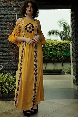 Yellow Embroidered Cold Shoulder Dress by Bhanuni by Jyoti