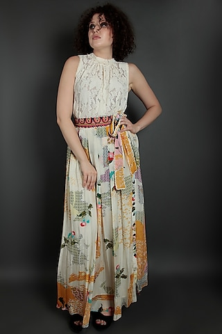 Ivory & Yellow Embroidered Skirt by Bhanuni by Jyoti