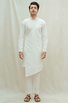 White Cotton Kurta With Pants by Bohame Men