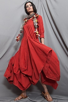 Rust Red Cowl Dress With Scarf by Bohame