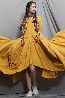 Mustard Cowl Dress With Scarf by Bohame