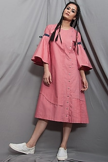Baby Pink Paneled Dress by Bohame