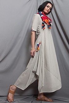Off White Cowl Dress With Ikat Dupatta by Bohame