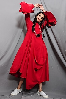 Rust Red Cowl Dress With Necklace by Bohame
