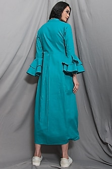 Green Cowl Dress With Necklace by Bohame