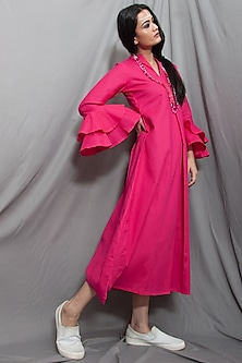 Pink Cowl Dress With Necklace by Bohame