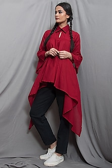 Wine Cotton Frilled Shirt by Bohame