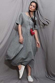 Grey Draped Dress With Necklace by Bohame