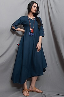 Blue Cowl Dress With Locket Necklace by Bohame