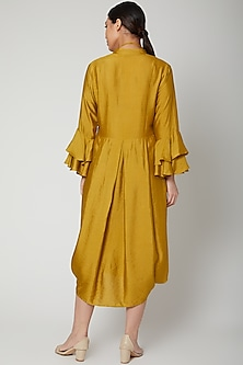 Mustard Dress With Bell Sleeves & Necklace by Bohame