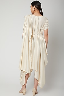 Off White Oversized Dress With Belt by Bohame