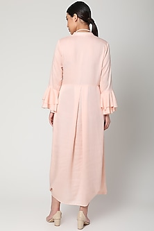 Peach Dress With Necklace by Bohame