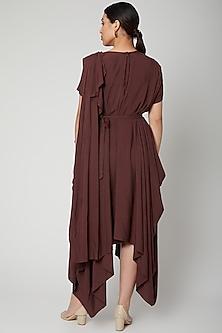 Brown Asymmetric Dress With Belt by Bohame