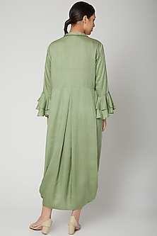 Olive Green Dress With Necklace by Bohame