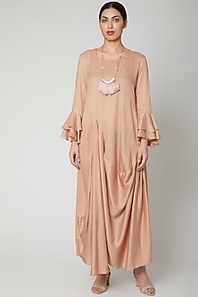 Rose Gold Cowl Dress With Necklace by Bohame