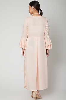 Peach Cowl Dress With Necklace by Bohame