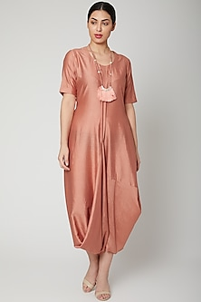 Rose Gold Dress Come Jumpsuit With Necklace by Bohame