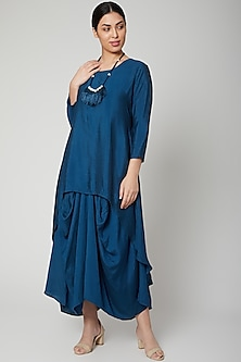 Turquoise Blue Cowl Dress With Necklace by Bohame