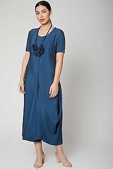 Turquoise Blue Dress Come Jumpsuit With Necklace by Bohame