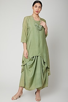 Olive Green Tencel Dress With Necklace by Bohame