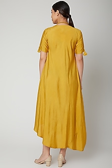 Mustard Asymmetric Dress With Necklace by Bohame