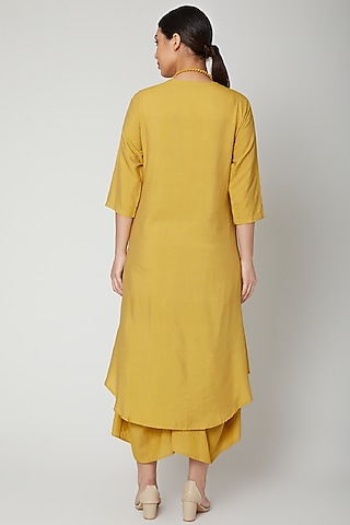 Mustard Cowl Dress With Necklace by Bohame