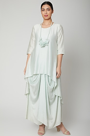 Ice Blue Cowl Dress With Necklace by Bohame