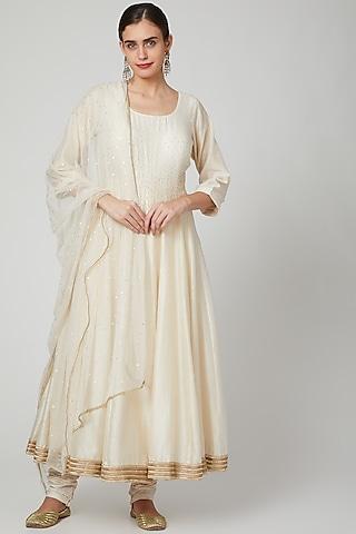 Off White Embroidered Anarkali Set by Bohame