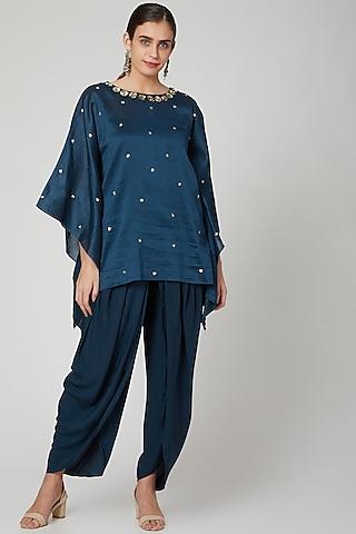 Turquoise Embellished Kaftan Set by Bohame