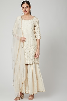 Off White Embroidered Sharara Set by Bohame