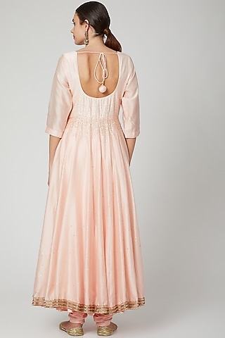 Peach Embroidered Anarkali Set by Bohame