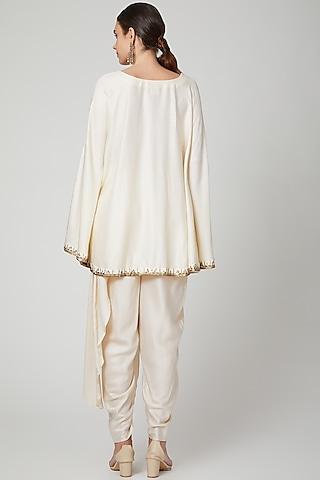 Off White Embellished Kaftan Set by Bohame
